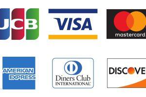 Visa、MasterCard、JCB、American Express、Diners、Discoverおよびセゾンカード