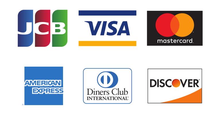 クレジットカード(VisaやMasterCard、JCB、American Express、Diners、Discoverおよびセゾンカード)で支払い可能